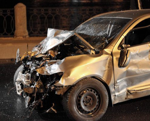 car totaled after man is killed in wrong-way car accident in Riverview, Florida