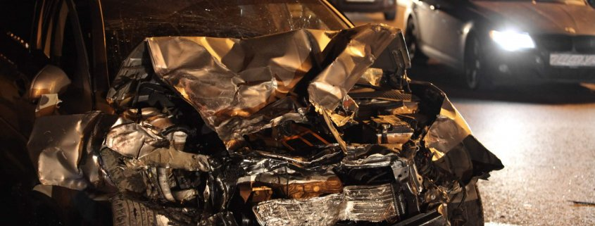 car is totaled after a single-car crash in Lakeland, Florida