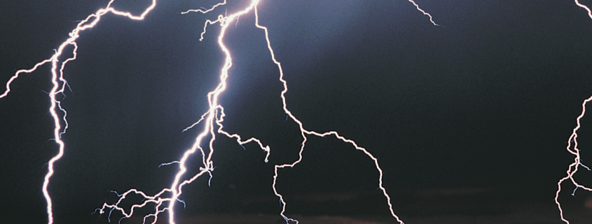 Lightning hits panhandle highway, sending a chunk through a truck