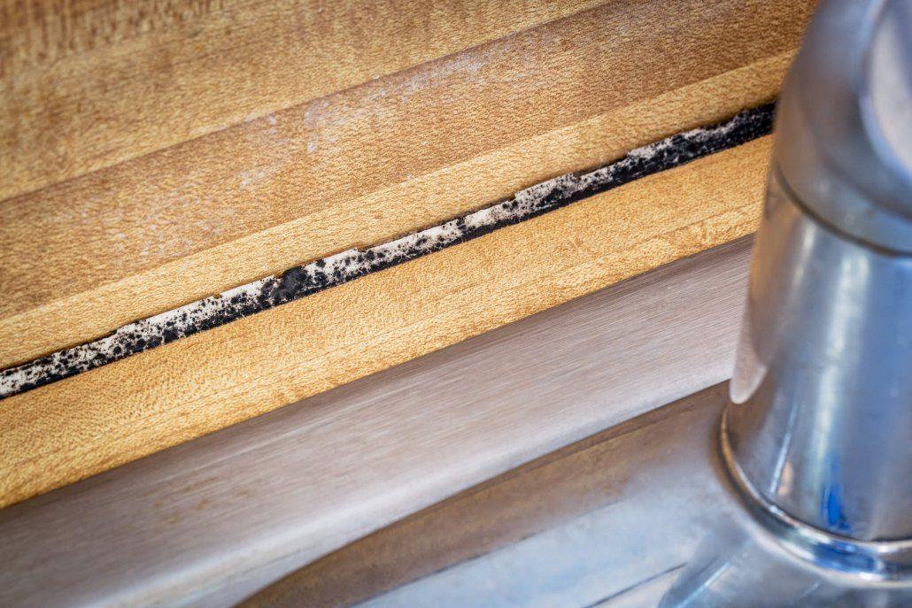 Black mold develops behind kitchen sink.